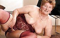 Redhead Granny underwear and tease