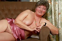 Redhead Granny underwear and tease