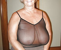 Granny mature milf wearing see thru tops 4