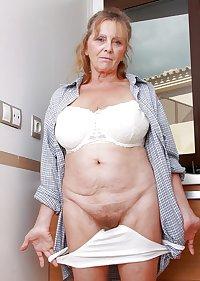 MILF ISABEL mature panties hairy old pussy - reife Dame