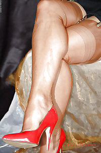 granny Mature in RED Heels and Hosiery